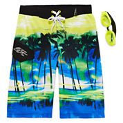 Zero Xposur® Endless Summer Swim Trunks and Goggles Set - Boys 8-20