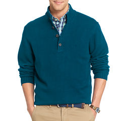 IZOD Long-Sleeve Button Mockneck Sweater