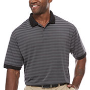 Claiborne Short Sleeve Stripe Polo Shirt Big and Tall