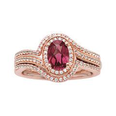 10K Rose Gold Rhodolite and Diamond Ring