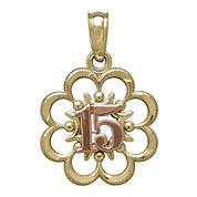 Tesoro™ 14K Two-Tone Gold 15 Quiceanera Flower Pendant