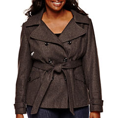 Marilyn & Me Faux-Wool Trench Coat - Juniors Plus