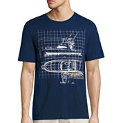 St. John`s Bay Mariner Short Sleeve Crew Neck T-Shirt