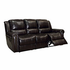 Harrison Transitional Leather Pad-Arm Sofa