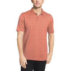 Van Heusen Short Sleeve Flex Printed Windowpane Polo Shirt