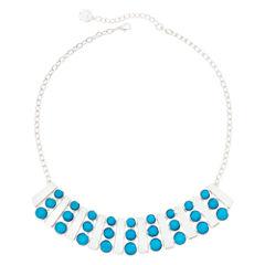 Liz Claiborne® Aqua Silver-Tone Collar Necklace