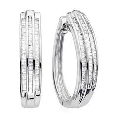 1 CT. T.W. Diamond Sterling Silver Triple-Row Hoop Earrings