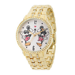 Disney Mickey and Minnie Womens Gold-Tone Cubic Zirconia Love Bracelet Watch