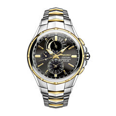 seiko men s watches for jewelry watches jcpenney seiko® coutura mens two tone stainless steel solar perpetual calendar chronograph sport watch ssc376