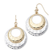 Sensitive Ears Two-Tone Hammered Double Circle Earrings