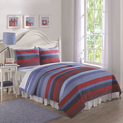 Laura Hart Blue Sebas Stripe Quilt Set