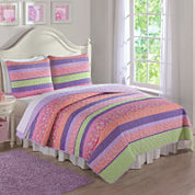 Laura Hart Anna's Pastel Stripe 3-pc. Quilt Set