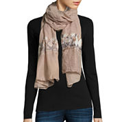 Flower Embroidered Scarf