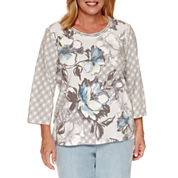 Alfred Dunner 3/4 Sleeve Crew Neck Knit Blouse-Plus