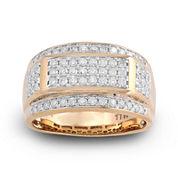 Mens 1 CT. T.W. Diamond 10K Yellow Gold Frame Ring