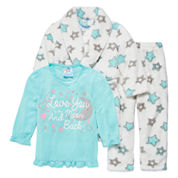 Girls Pajamas + Robe Set-To The Moon And Back
