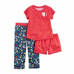 Carter'S Girls 3Pc Poly Sleep Red Dot Navy Floral Short Set