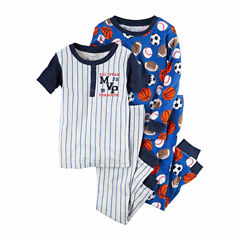Carter'S Boys 4Pc. Cotton Sleep  Firetruck, Baseball Sports Pajamas