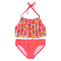 St. Tropez Girls Solid Brights Flounce Bikini Set - Big Kid
