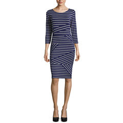 Belle + Sky 3/4 Sleeve Stripe Bodycon Dress