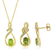 Genuine Peridot and Lab Created White Sapphire Pendant Or Earrings