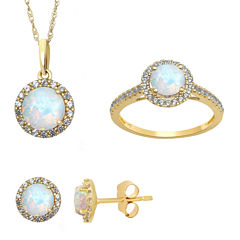 Lab Created Opal and White Sapphire Earrings, Ring Or Pendant