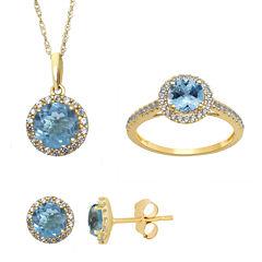 Genuine Aquamarine and Lab Created White Sapphire Stud, Ring Or Pendant