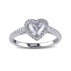 1 CT. T.W. Diamond 14K White Gold Heart Ring