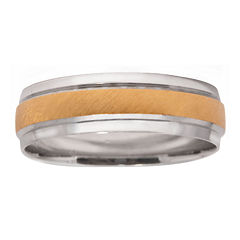 Mens 10K Two-Tone Gold 6mm Wedding Band