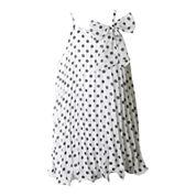 Pinky Sleeveless Polka Dot Trapeze Dress - Girls 4-6x