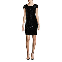 Renn Short Sleeve Sequin Sheath Dress