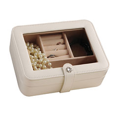 Mele & Co. Rio Faux-Leather Glass-Top Ivory Jewelry Box