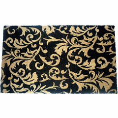 Gold Scroll Leaves Rectangle Doormat - 18