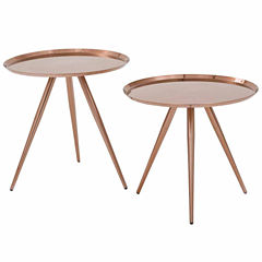 Tiffany 2-Pk Side Tables with Brushed Copper Plate finish