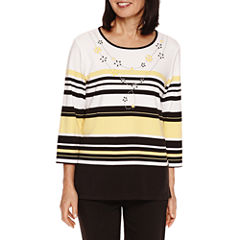 Alfred Dunner City Life 3/4 Sleeve Crew Neck T-Shirt