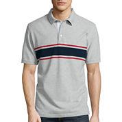 St. John's Bay® Short-Sleeve Rugby-Striped Piqué Polo