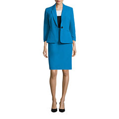 Black Label by Evan-Picone 3/4 Sleeve 1-Button Jacket with Sleeveless Colorblock Sheath