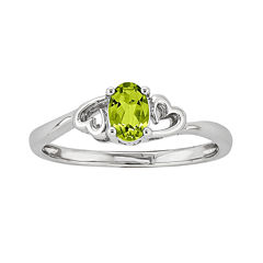 Womens Green Peridot Sterling Silver Solitaire Ring