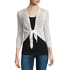 It's Our Time Tie Front Shrug 3/4 Sleeve Cardigan-Juniors