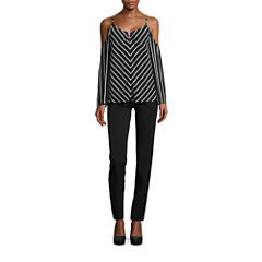 nicole by Nicole Miller Striped Cold Shoulder Top or Side Pocket Skinny Pants
