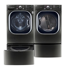 LG Front Load 4-pc. Electric Washer & Dryer Set with Pedestal Washer- Black Stainless