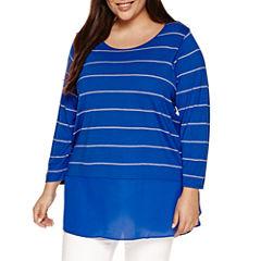 a.n.a 3/4 Sleeve V Neck T-Shirt-Womens Plus