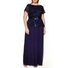 Blu Sage Short-Sleeve Drape-Back Gown