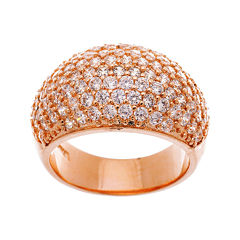 Cubic Zirconia Rose Gold Over Brass Dome Ring