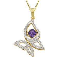 Genuine Amethyst and Lab-Created White Sapphire Butterfly Pendant Necklace