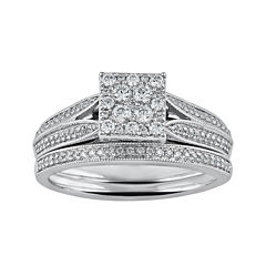 Cherished Hearts™ 1/2 CT. T.W. Diamond 14K White Gold Ring Set