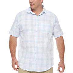 Van Heusen Short Sleeve White Washed Shirt- Big & Tall