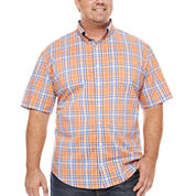 IZOD Short Sleeve Plaid Woven Shirt- Big & Tall