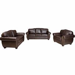 Elizabeth Leather Sofa + Loveseat Set