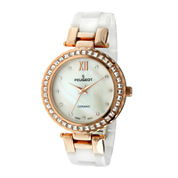 Peugeot® Womens White Ceramic T-Bar Bracelet Watch